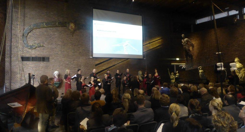 Bilde fra pressekonferanse på Norsk Maritimt Museum for kulturbudsjett 2016